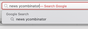 Google Search prompt in address bar