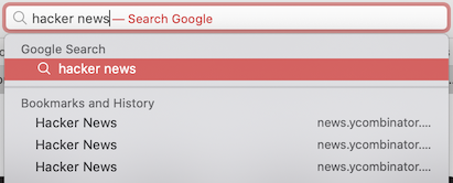 Searching by page title in address bar