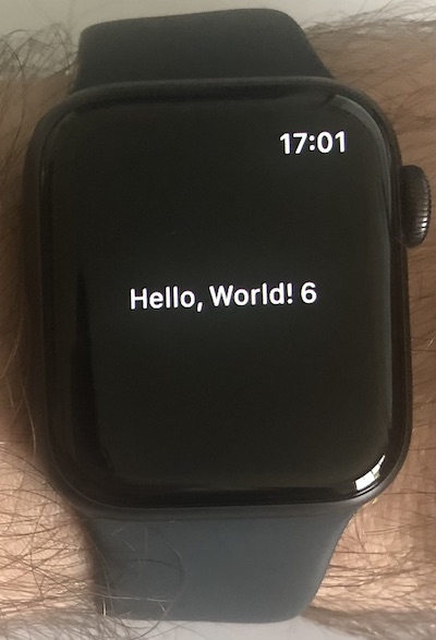 The app running on the watch
