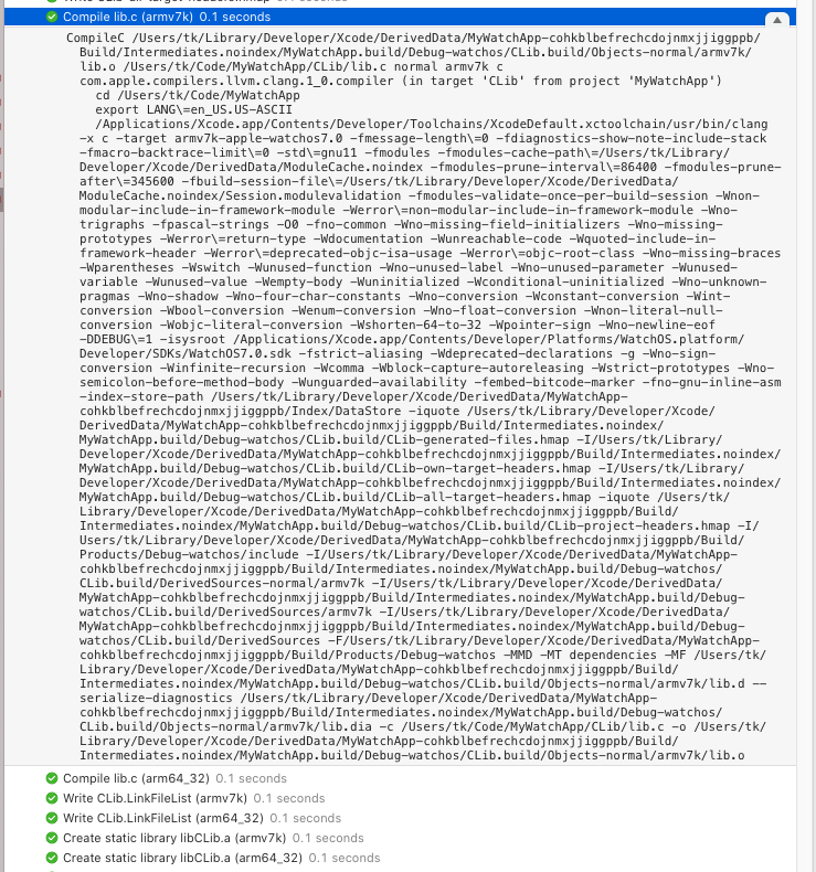 Reviewing the clang build logs inside Xcode